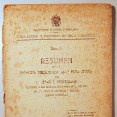 Libros de segunda mano: MONTALBÁN, CÉSAR L. - TRABAJOS EFECTUADOS EN EL AÑO 1939 EN LAS DUNAS DE ADMERCURI Y TABERNES - 1940. Lote 192550000