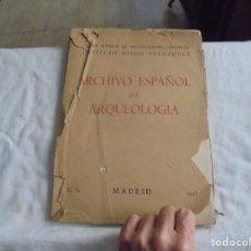 Libros de segunda mano: ARCHIVO ESPAÑOL DE ARQUEOLOGIA.MADRID 1943. INSTITUTO DIEGO VELAZQUEZ. Lote 206572790