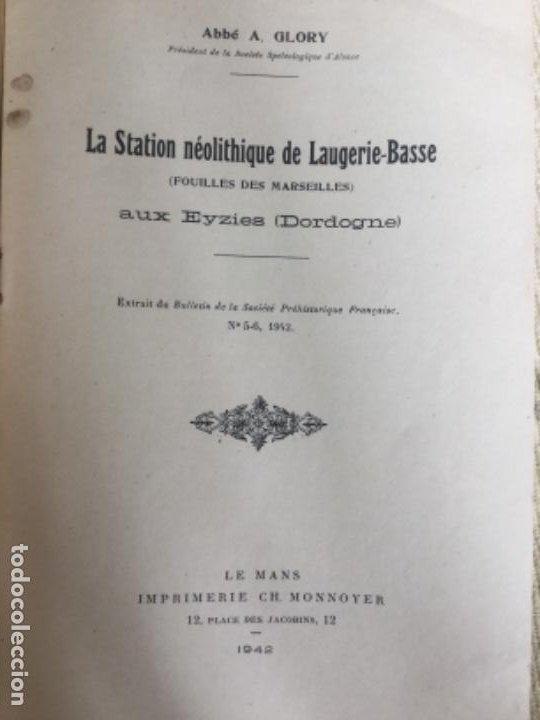 Libros de segunda mano: LA STATION NEOLITHIQUE DE LAUGERIE-BASSE - ABBE A. GLORY - 1942 - aux EYZIES Dordogne - 11p. - Foto 2 - 208039443