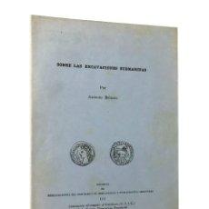 Libros de segunda mano: SOBRE LAS EXCAVACIONES SUBMARINAS // ANTONIO BELTRÁN // CSIC // ((1952)). Lote 67479069