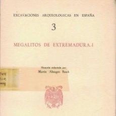 Libros de segunda mano: MARTIN ALMAGRO BASCH. MEGALITOS DE EXTREMADURA I. Lote 243112735