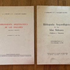Libros de segunda mano: BIBLIOGRAFIA ARQUEOLOGICA DE LAS BALEARES - SUPLEMENTOS 1 Y 2 - G. LLOMPART / J. MASCARO. Lote 260633910