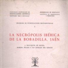 Libros de segunda mano: J. MALUQUER DE MOTES : NECRÓPOLIS IBÉRICA DE LA BOBADILLA - JAÉN (1973). Lote 279517973
