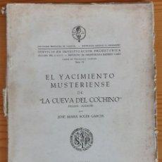 Libros de segunda mano: EL YACIMIENTO MUSTERIENSE DE LA CUEVA DEL COCHINO (J.M. SOLER 1956) DAÑADO, SIN USAR.. Lote 295541538