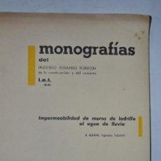 Libros de segunda mano: IMPERMEABILIDAD DE MUROS DE LADRILLO AL AGUA DE LLUVIA. A. ALAMAN RM61335. Lote 36442832