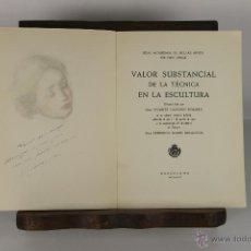 Libros de segunda mano: D-161. VALOR SUBSTANCIAL DE A TECNICA EN LA ESCULTURA. VICENTE NAVARRO. 1956. . Lote 42053356