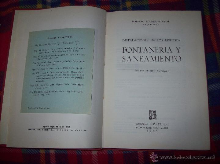 Libros de segunda mano: FONTANERÍA Y SANEAMIENTO.INSTALACIONES EN LOS EDIFICIOS.MARIANO RODRÍGUEZ.4ª EDICIÓN AMPLIADA 1965. - Foto 3 - 43559757