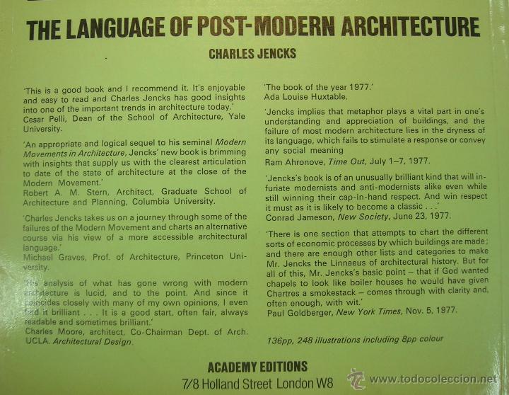 Libros de segunda mano: CHARLES JENKS: THE LANGUAGE OF POST-MODERN ARCHITECTURE. ACADEMY EDITIONS LONDON 1978 (EN INGLES) - Foto 6 - 158891745