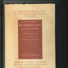 Libros de segunda mano: LOS DIEZ LIBROS DE ARCHÎTECTURA. M. VITRUVIO POLIÓN. Lote 49129461