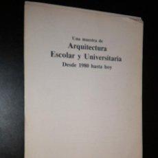 Libros de segunda mano: MUESTRA DE ARQUITECTURA ESCOLAR Y UNIVERSITARIA DESDE 1980 HASTA HOY / 1993. Lote 52822539