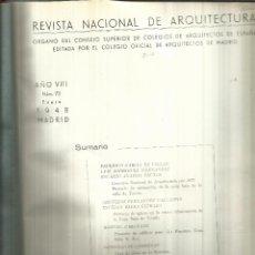 Libros de segunda mano: 4 REVISTAS NACIONAL DE ARQUITECTURA ENCUADERNADAS. COLEGIO NACIONAL DE ARQUITECTOS DE MADRID. 1948. Lote 53118830