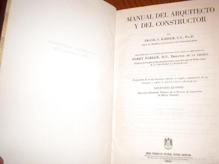 Libros de segunda mano: manual del arquitecto y del constructor / Kidder - Parker - Foto 2 - 55109159