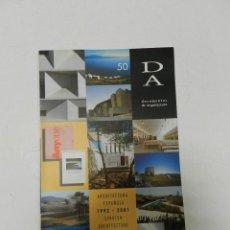 Libros de segunda mano: DOCUMENTOS DE ARQUITECTURA, 50: ARQUITECTURA ESPAÑOLA, 1992-2001 VV.AA ENRIC MIRALLES. Lote 57143177