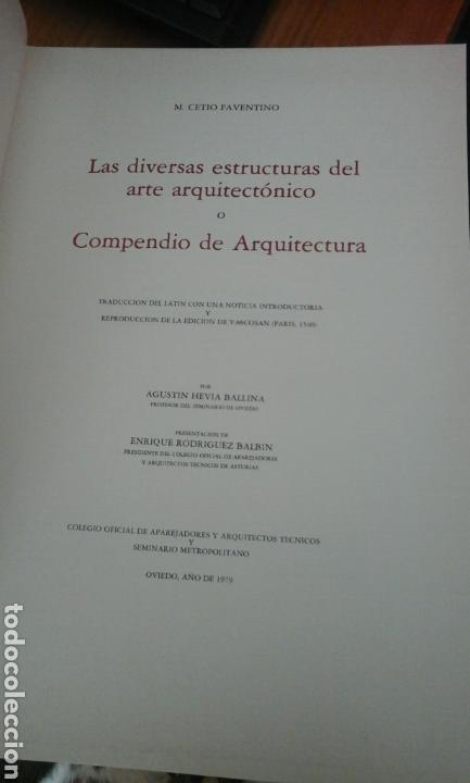 Libros de segunda mano: Compendio de arquitectura.1979.M.cetio Faventino - Foto 3 - 74957370