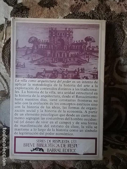 Libros de segunda mano: La villa como arquitectura del poder, de R. Bentmann y M. Muller. Barral, 1975, primera edición - Foto 2 - 77908309