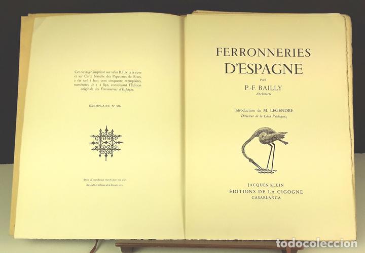 FERRONNERIES D'ESPAGNE. EJEMPLAR Nº 586. P. F. BAILLY. EDIT. DE LA CIGOGNE. 1952. (Libros de Segunda Mano - Bellas artes, ocio y coleccionismo - Arquitectura)