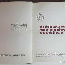 Libros de segunda mano: ORDENANZAS MUNICIPALES DE EDIFICACIÓN. AY. DE BARCELONA. IMP. PROV. DE CARIDAD. 1958.. Lote 99431247