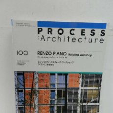 Libros de segunda mano: PROCESS: ARCHITECTURE N 100. RENZO PIANO BUILDING WORKSHOP. IN SEARCH OF A BALANCE ARQUITECTURA. Lote 105010475