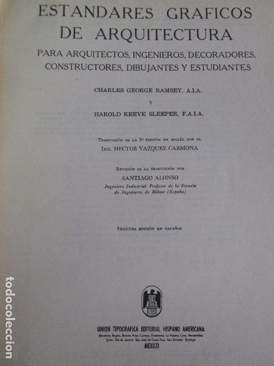 Libros de segunda mano: ESTANDARES GRAFICOS DE ARQUITECTURA. RAMSEY - SLEEPER. U. TIPOGRAFICA EDITORIAL HISPANO AMERICA 1962 - Foto 7 - 109542607
