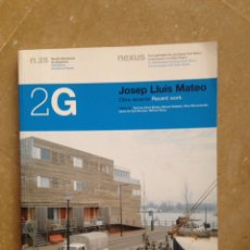 Libros de segunda mano: 2G REVISTA INTERNACIONAL DE ARQUITECTURA N 25 JOSEP LLUÍS MATEO. Lote 117025618