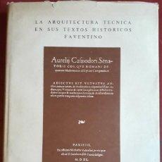 Libros de segunda mano: M. CETIO FAVENTINO . LA ARQUITECTURA TÉCNICA EN SUS TEXTOS HISTÓRICOS. Lote 134994270