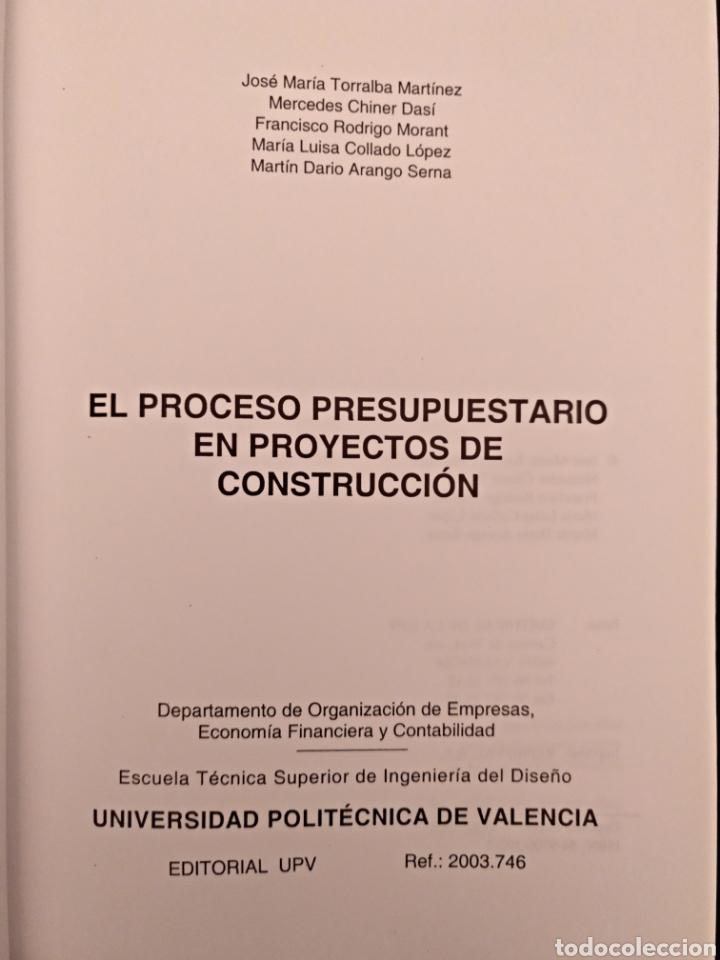 Libros de segunda mano: El proceso presupuestario en proyectos de construcción - Foto 3 - 136896332