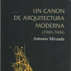 Libros de segunda mano: ANTONIO MIRANDA : UN CANON DE ARQUITECTURA MODERNA (1900-2000). EDS. CÁTEDRA, GRANDES TEMAS, 2005. Lote 143262630
