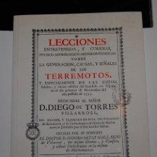 Libros de segunda mano: FACSÍMIL LECCIONES ENTRETENIDAS SOBRE LA GENERACIÓN, CAUSAS Y SEÑALES TERREMOTOS - COL. ARQUITECTOS. Lote 148071558