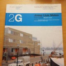 Libros de segunda mano: JOSEP LLUÍS MATEO (2G, REVISTA INTERNACIONAL DE ARQUITECTURA Nº 25). Lote 167579204