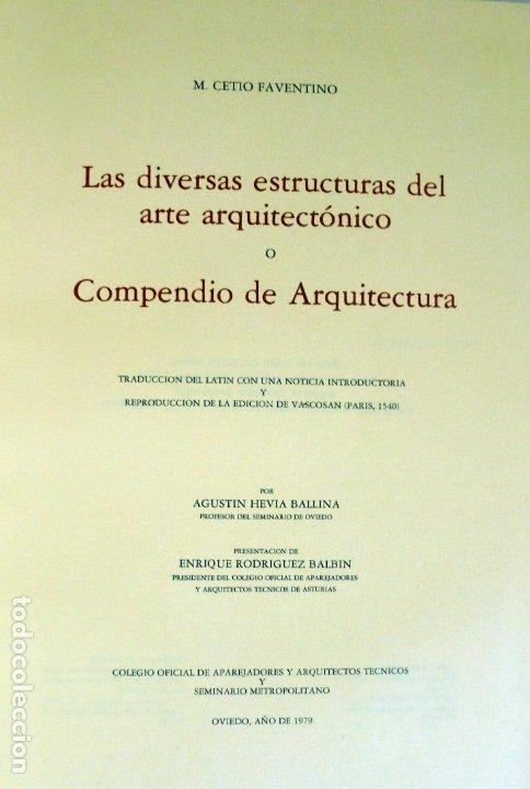 Libros de segunda mano: La arquitectura técnica en sus textos Históricos -Faventino - Edición facsímil numerada - - Foto 4 - 176577887