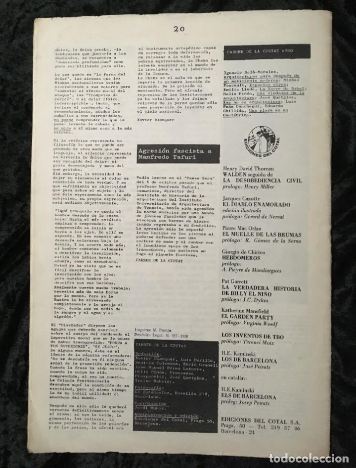 Libros de segunda mano: CARRER DE LA CIUTAT - REVISTA DE ARQUITECTURA Nº0 - INCLUYE CARTEL PÓSTER ANUNCIANDO EL Nº1 - Foto 6 - 185683840
