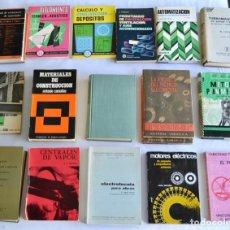Libros de segunda mano: LOTE DE 17 LIBROS TÉCNICOS. MATERIALES, ELECTRICIDAD, AISLAMIENTOS,CALEFACCIÓN. BUEN ESTADO GENERAL. Lote 195212786
