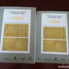 Libros de segunda mano: CATALOGO DE PUENTES ANTERIORES A 1800 -- LA RIOJA -- TOMO 1 Y 2 -- CEHOPU 1998 --. Lote 200117953