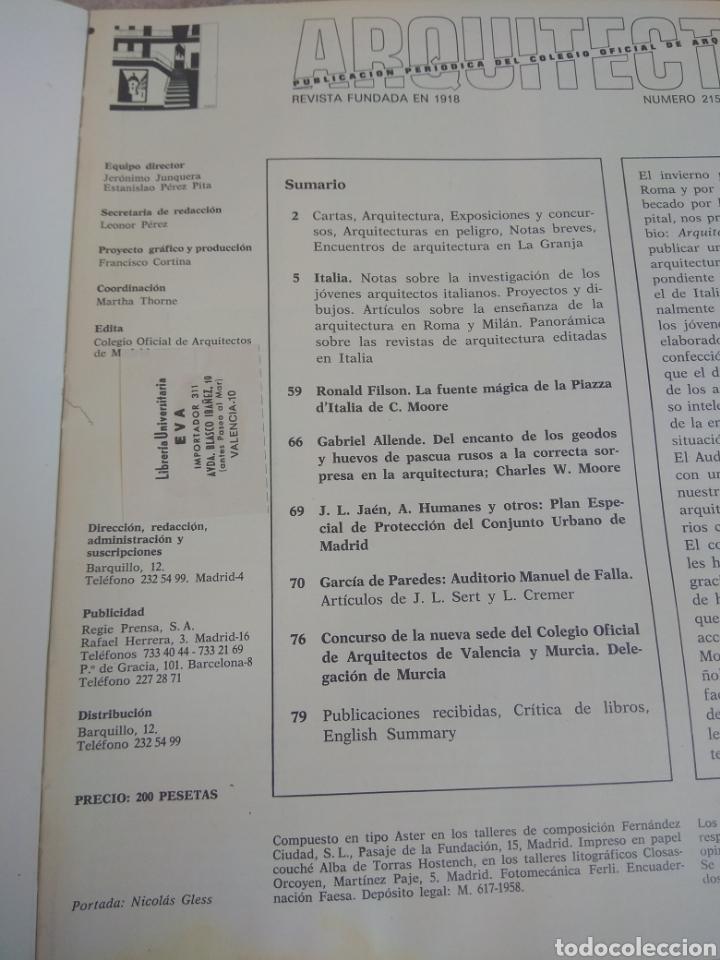 Libros de segunda mano: Arquitectura - Publicación Colegio Oficial de Arquitectos de Madrid 1978 - Leer Descripción - - Foto 6 - 218546316