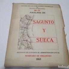 Libros de segunda mano: ANALISIS DE SAGUNTO Y SUECA SEMINARIO DE URBANISMO 1953 W5115. Lote 234448185