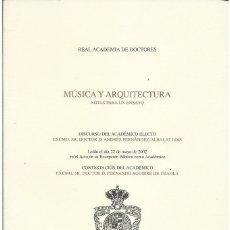 Libros de segunda mano: ANDRÉS FERNÁNDEZ-ALBALAT LOIS : MÚSICA Y ARQUITECTURA (NOTAS PARA UN ENSAYO). DEDICADO. Lote 277524693
