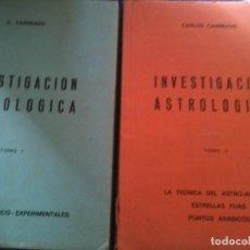 Libros de segunda mano: INVESTIGACION ASTROLOGICA TOMO I-TOMO II-CARLOS CARNEADO. Lote 109575111