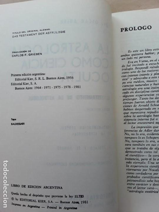Libros de segunda mano: La astrologia como ciencia oculta,el testamento de la astrologia,kier. - Foto 2 - 166828526