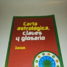 Libros de segunda mano: ZANIAH , CARTA ASTROLOGICA , CLAVES Y GLOSARIO , INCLUYE DESPLEGABLE VER FOTOS. Lote 194541561
