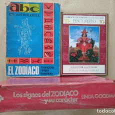 Libros de segunda mano: BIBLIOTECA SIGNOS SOLARES- ESCORPIO - PARKER + ZODIACO, ABC ASTROLOGÍA + SIGNOS ZODÍACO Y CARÁCTER. Lote 265821059