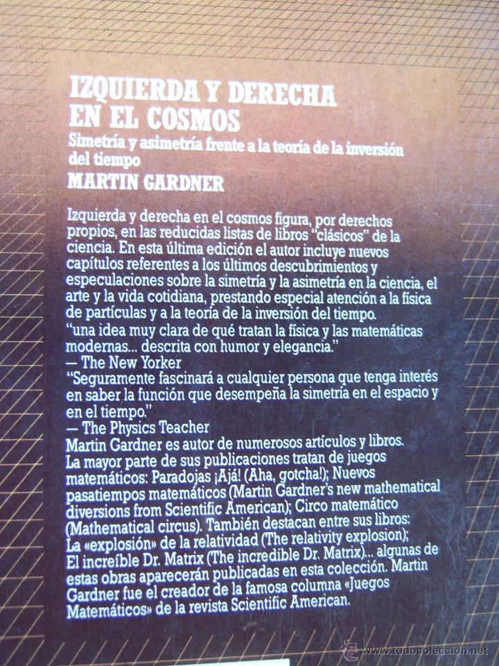 Libros de segunda mano: Izquierda y derecha en el cosmos, por Martin Gardner. - Foto 2 - 146318720