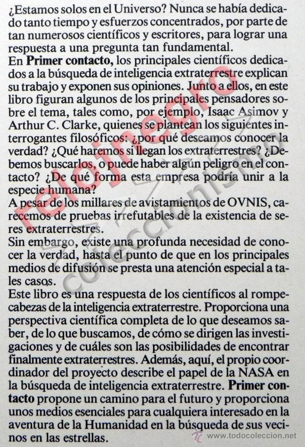 Libros de segunda mano: PRIMER CONTACTO LA BÚSQUEDA DE INTELIGENCIA EXTRATERRESTRE - ASTRONOMÍA EXOBIOLOGÍA OVNIS SETI LIBRO - Foto 2 - 42697830