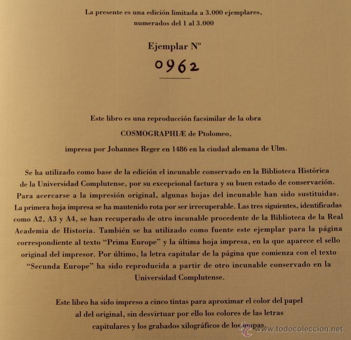 Libros de segunda mano: MUNDUS NOVUS ET VETERUS - EDICION NUMERADA LIMITADA AGOTADA -COSMOGRAFIA PTOLOMEO - Foto 11 - 43480245