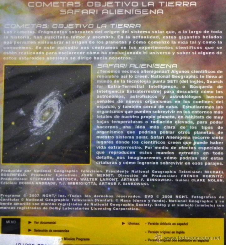 Libros de segunda mano: DVD INVESTIGACIONES ESPACIALES DOCUMENTAL PRECINTADO - SAFARI ALIENÍGENA - COMETAS - SETI - NO LIBRO - Foto 2 - 54393365