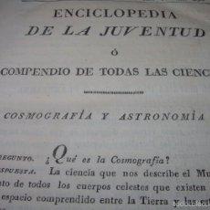 Libros de segunda mano: LIBRO TAPAS DE PIEL.....COSMOGRAFIA Y ASTRONOMIA....AÑO..1.825. Lote 57023095