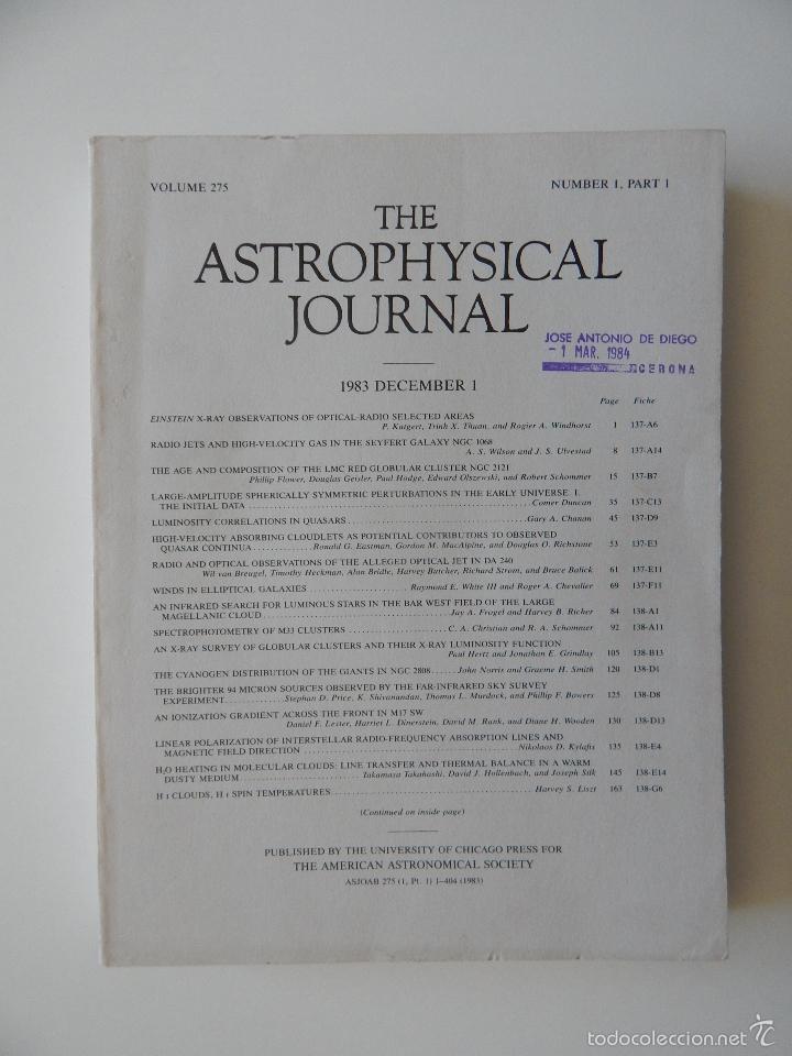 THE ASTROPHYSICAL JOURNAL. VOLUME 275 NUMBER 1 PART 1 1/12/1983 (Libros de Segunda Mano - Ciencias, Manuales y Oficios - Astronomía)