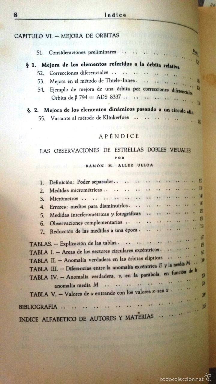 Libros de segunda mano: CÁLCULO DE ÓRBITAS DE ESTRELLAS DOBLES VISUALES (VIDAL ABASCAL, 1953) SIN USAR. - Foto 6 - 175961344