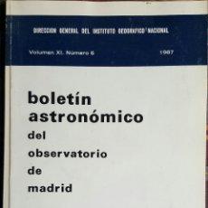 Libros de segunda mano: BOLETIN ASTRONÓMICO DEL OBSERVATORIO DE MADRID. NÚMERO 6. 1987. Lote 63806515