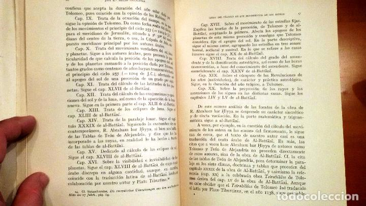 Libros de segunda mano: LIBRO DEL CÁLCULO DE LOS MOVIMIENTOS DE LOS ASTROS (A.B.HIYYA - ED. 1959) SIN USAR - Foto 3 - 61996352