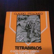 Livres d'occasion: TETRABIBLOS Y EL CENTILOQUIO. CLAUDIO PTOLOMEO. Lote 105569255